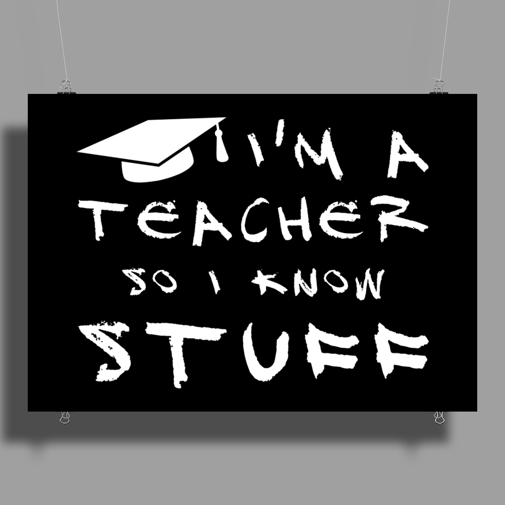 Teachers know stuff - wht Poster Print (Landscape)