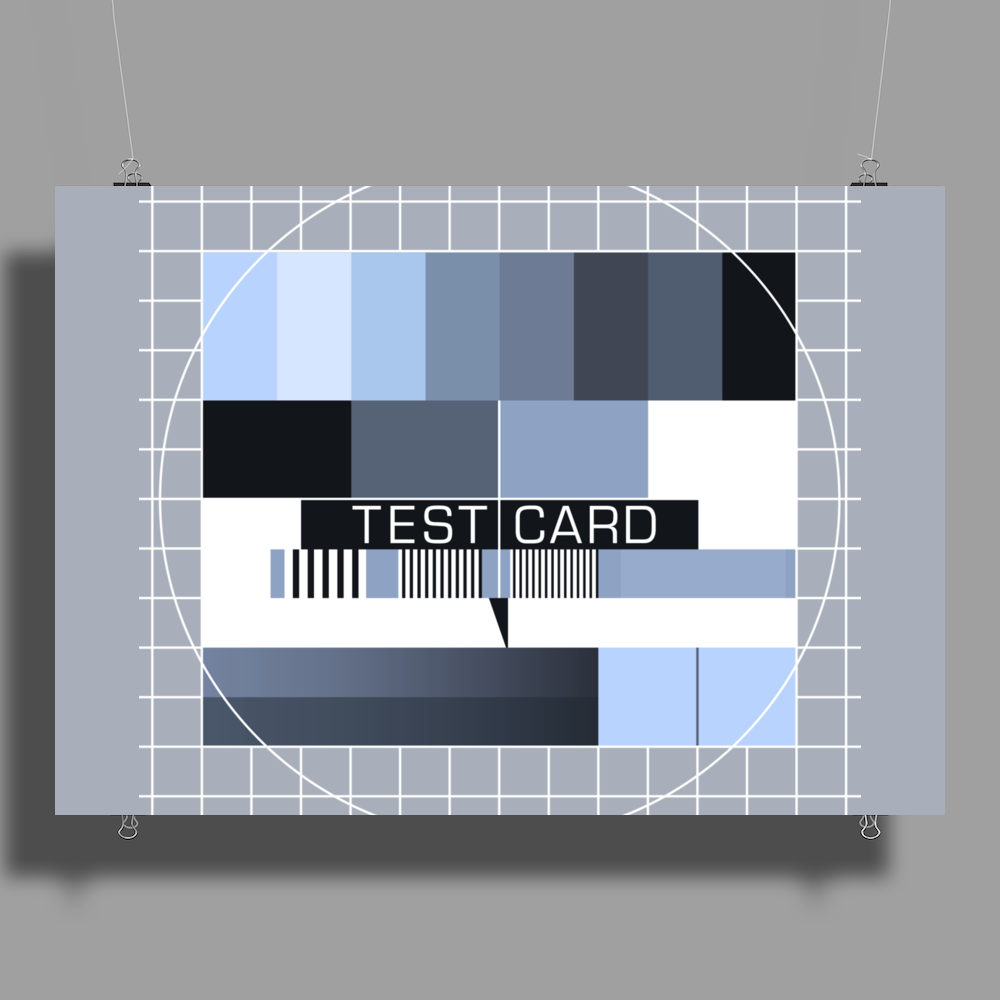 test card analog test pattern retro TV vintage television cold print black and white monochrome Poster Print (Landscape)