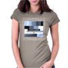 test card analog test pattern retro TV vintage television cold print black and white monochrome Womens Fitted T-Shirt