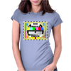 test card vintage retro colorful telescreen Womens Fitted T-Shirt