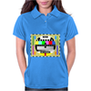 test card vintage retro colorful telescreen Womens Polo