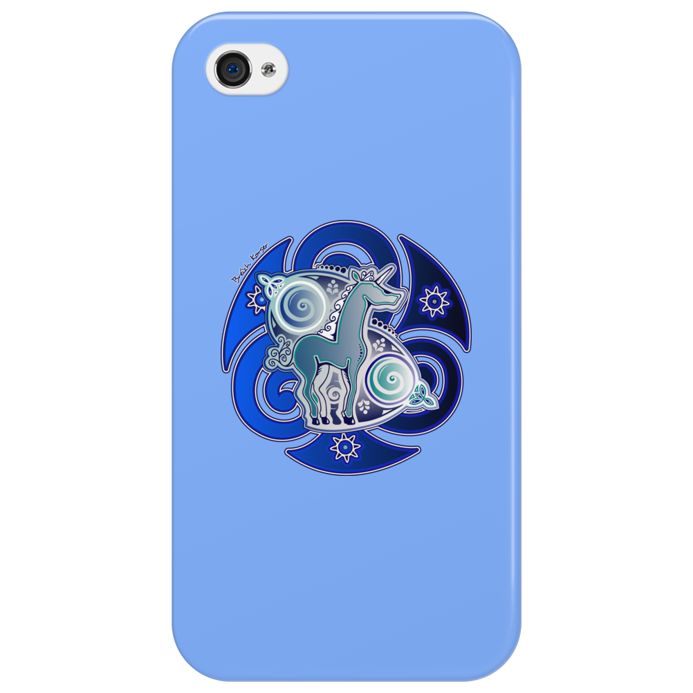 The blue celtic unicorn Phone Case