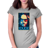 The Dude Abides Big Lebowski Abide Obama Poster Womens Fitted T-Shirt