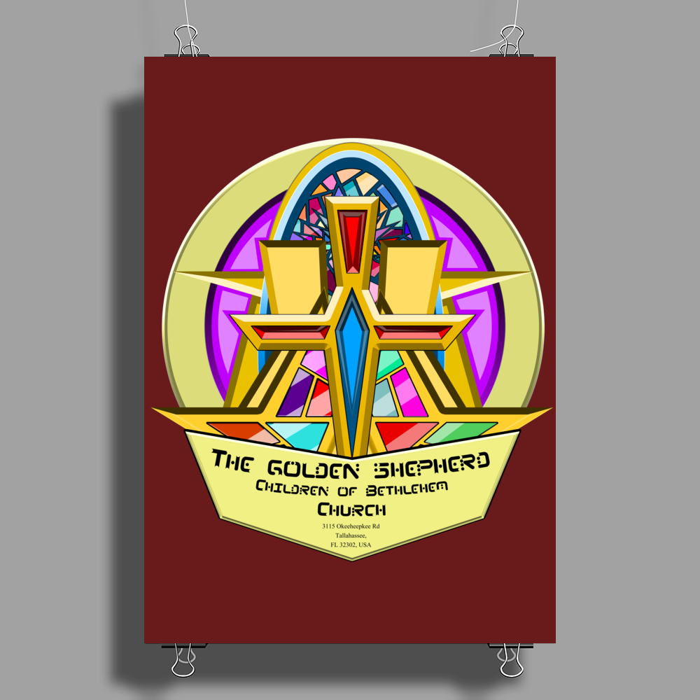 The Golden Shepherd - Children of Bethlehem Church (Real artwork for fake businesses series) Poster Print (Portrait)