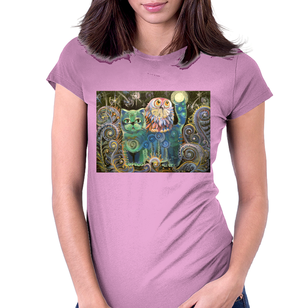 The Owl and the Cat Womens Fitted T-Shirt