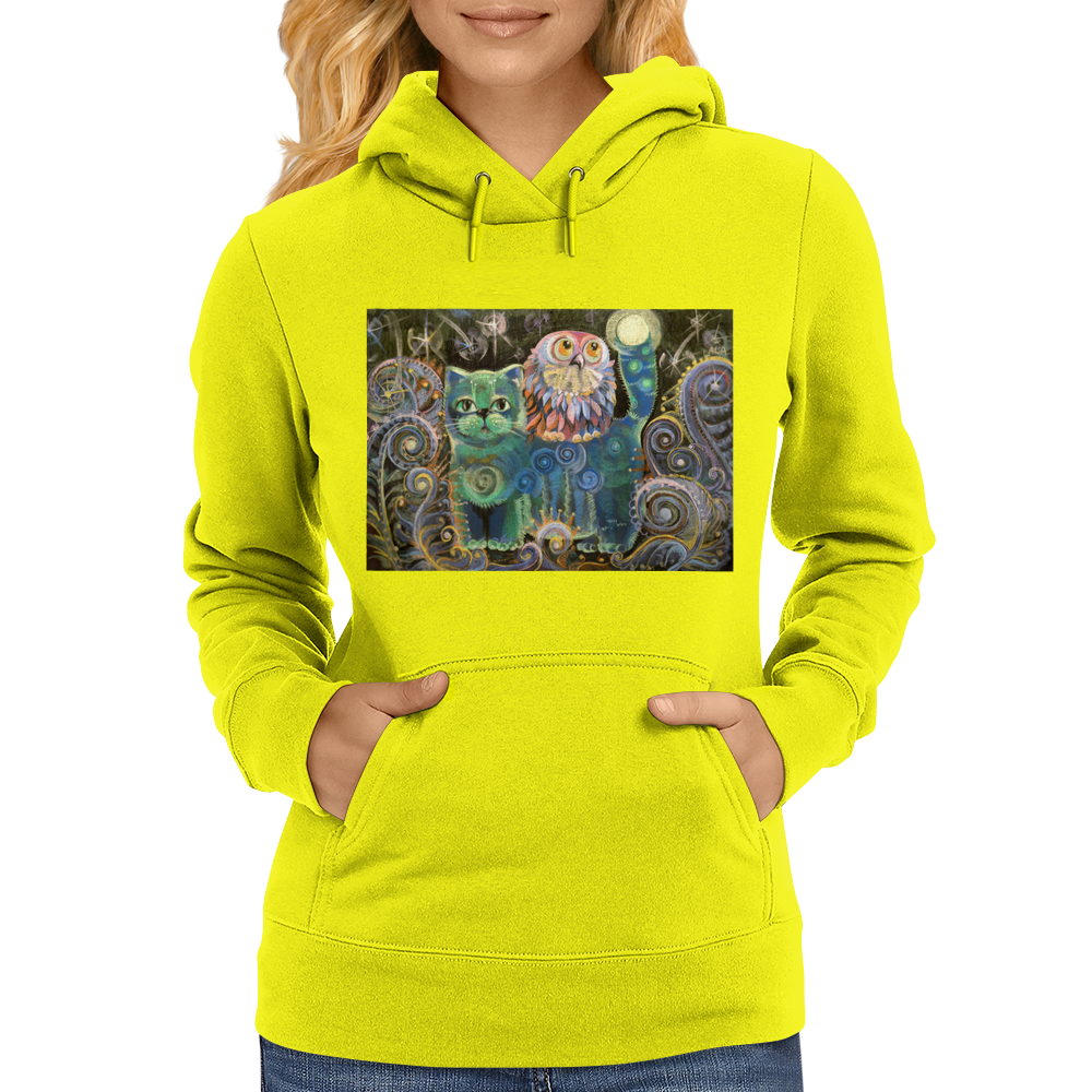 The Owl and the Cat Womens Hoodie