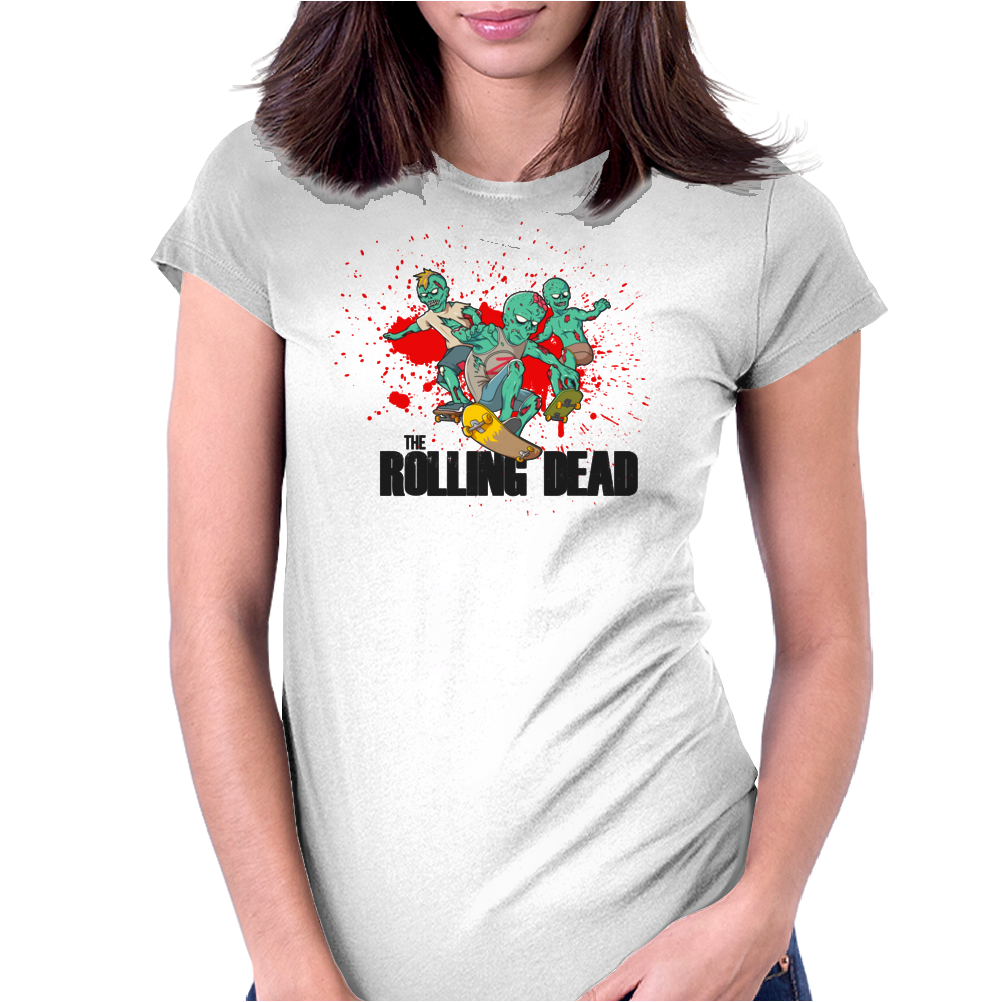 THE ROLLING DEAD - THE WALKING DEAD PARODY - THE AMC TWD SHOW - AMC - ZOMBIES Womens Fitted T-Shirt