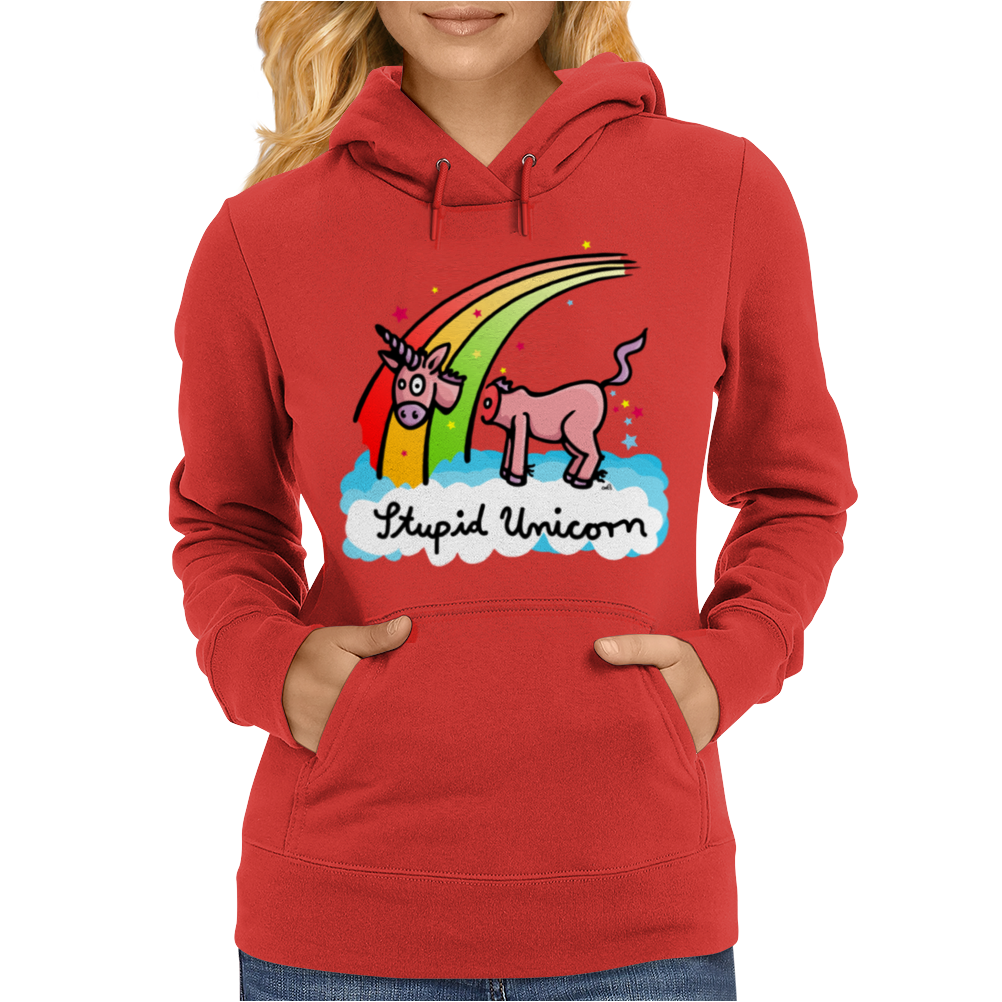 The stupid unicorn loses his head Womens Hoodie