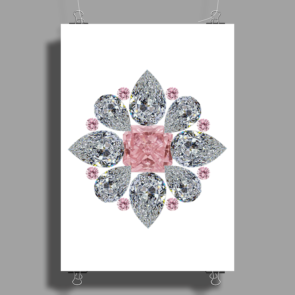 The Tudor Rose Pink Diamond Poster Print (Portrait)