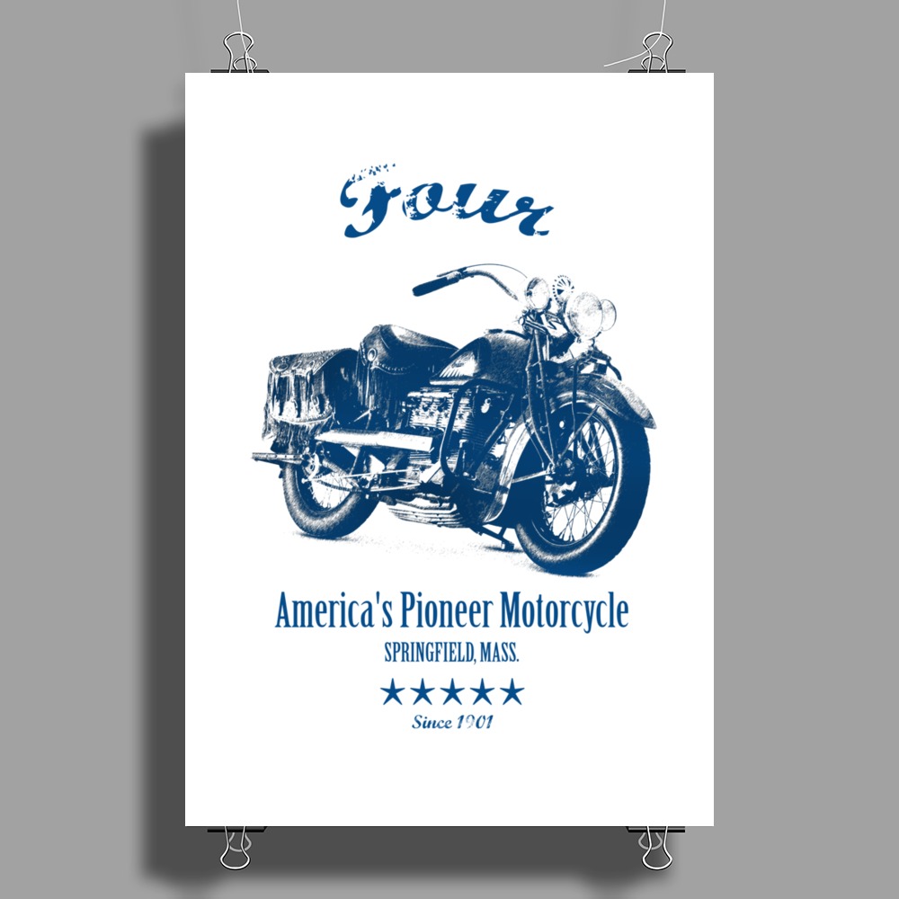 The Vintage Four Motorcycle Poster Print (Portrait)