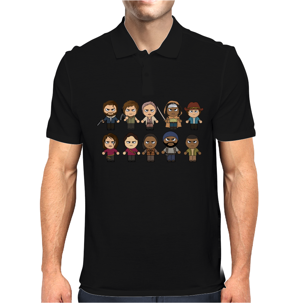 THE WALKING DEAD - MAIN CHARACTERS CHIBI - AMC WALKING DEAD - MANGA DEAD - TRANSPARENT Mens Polo