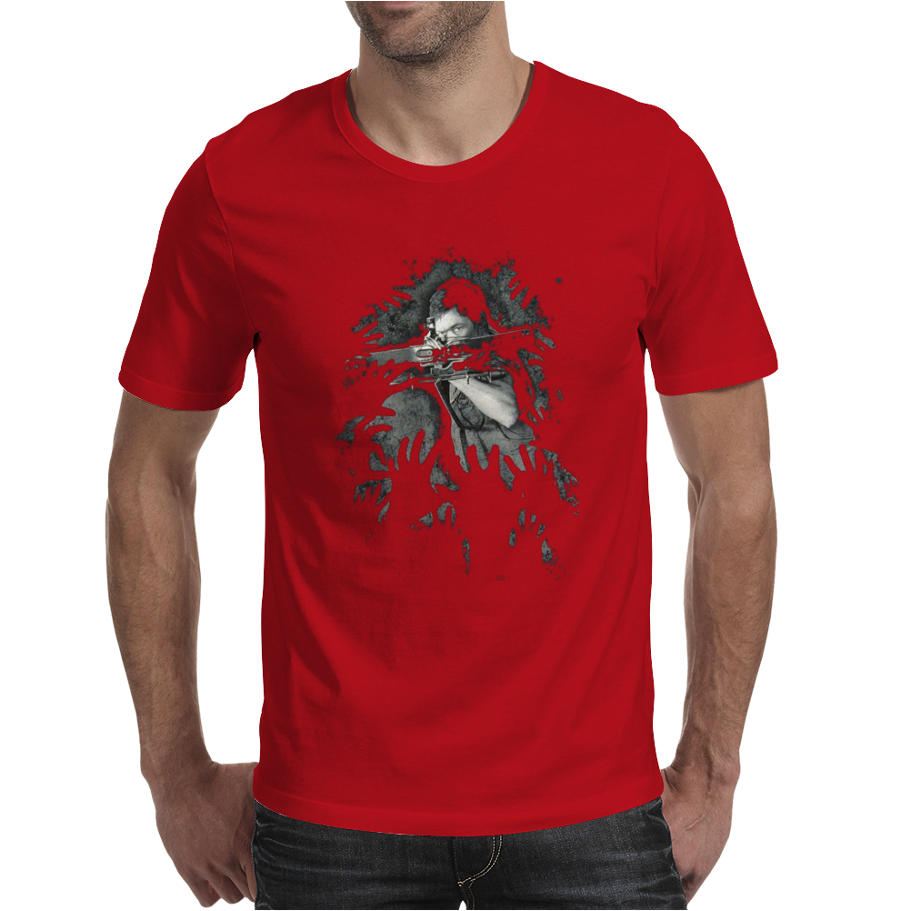 The Walking Dead Tv Show Daryl Dixon Pointing Crossbow Zombies Mens T-Shirt