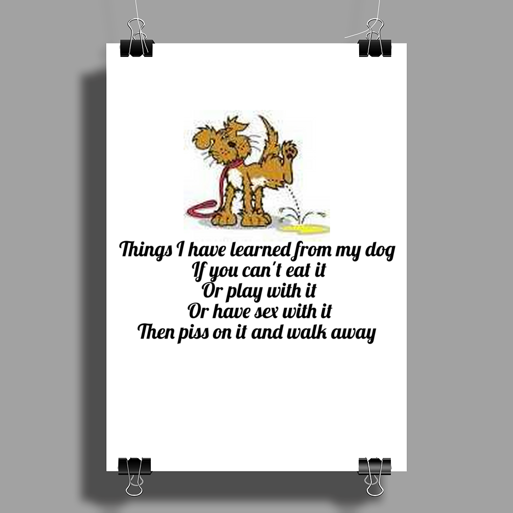 Things I have learned from my Dog if you cant eat it or play with it or have sex with it then piss  Poster Print (Portrait)