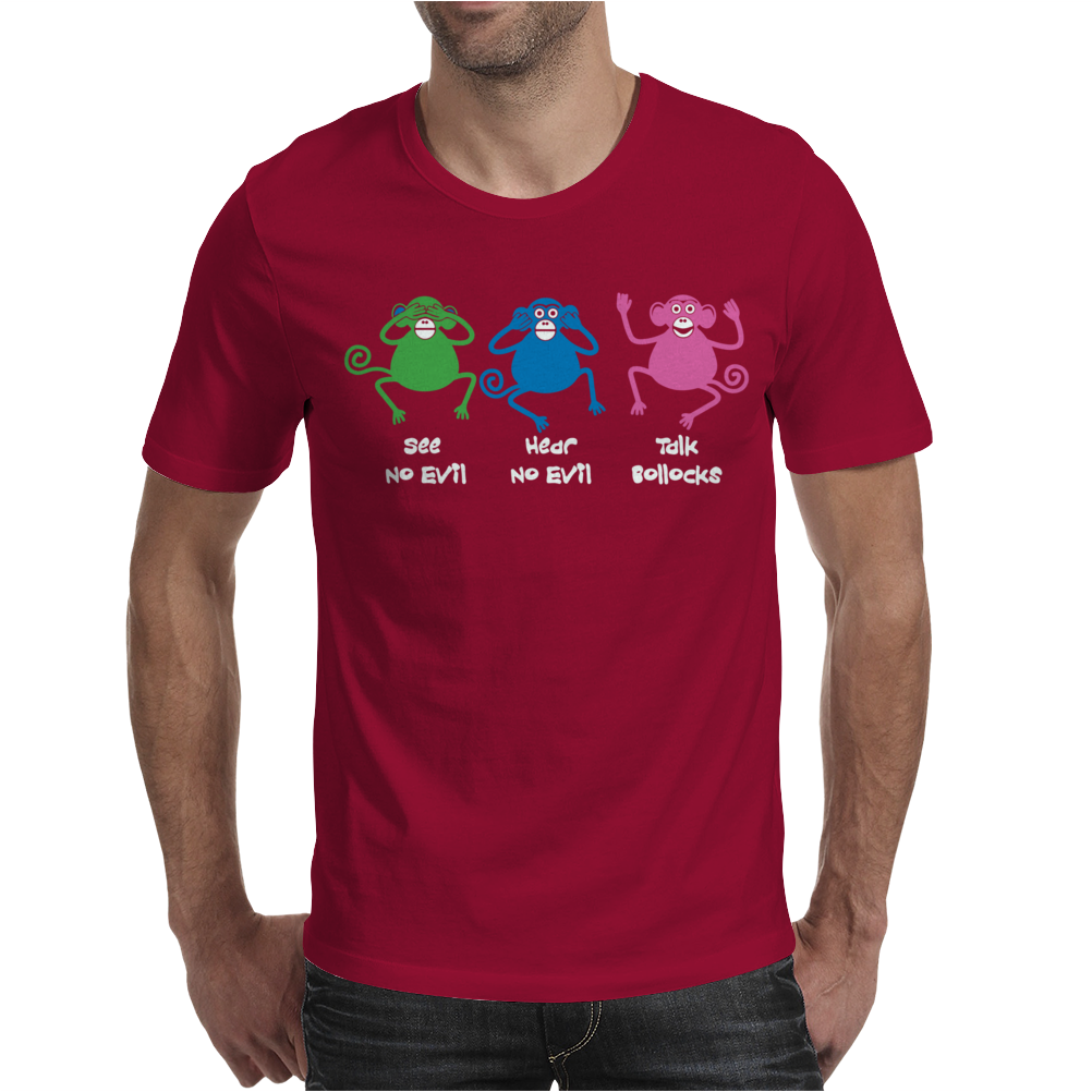 Three Monkeys Talking Nonsense Mens T-Shirt