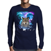 Timber Wolf MidNight Forest Mens Long Sleeve T-Shirt