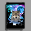 Timber Wolf MidNight Forest Poster Print (Portrait)