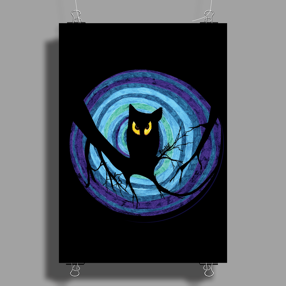 time for child stories: the EVIL OWL by Rouble Rust Poster Print (Portrait)