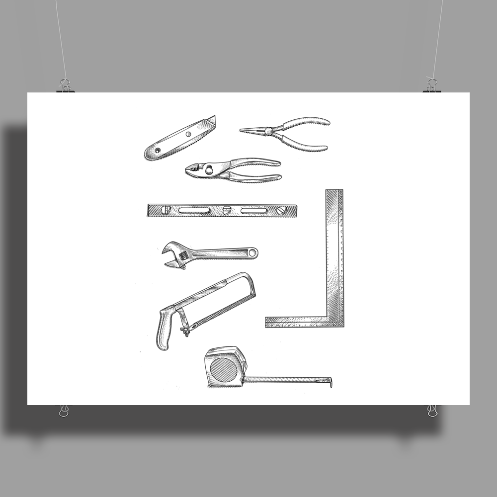 Tools series 1, hand tools, hack saw, adjustable wrench, builders square, measuring tape, pliers Poster Print (Landscape)