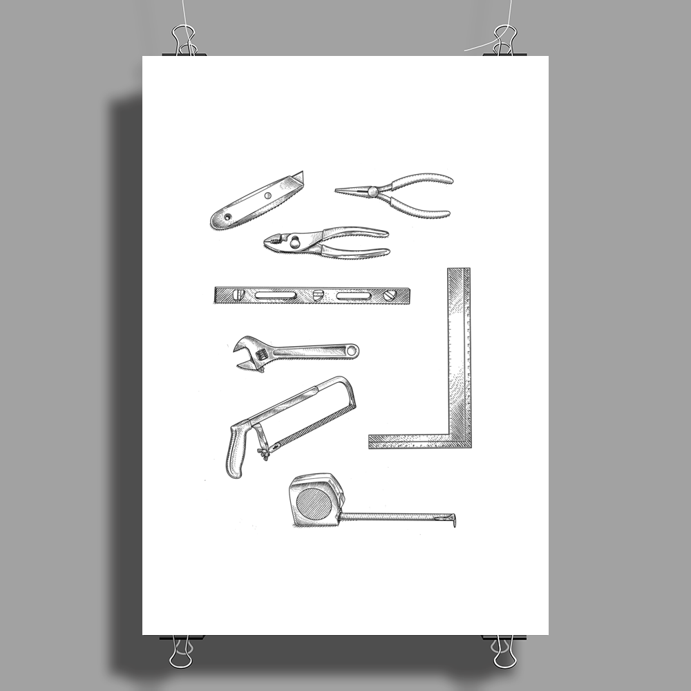 Tools series 1, hand tools, hack saw, adjustable wrench, builders square, measuring tape, pliers Poster Print (Portrait)
