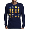 Top emoji collection, including poop, crying with laughter & moon face Mens Long Sleeve T-Shirt