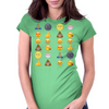 Top emoji collection, including poop, crying with laughter & moon face Womens Fitted T-Shirt