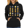 Top emoji collection, including poop, crying with laughter & moon face Womens Hoodie