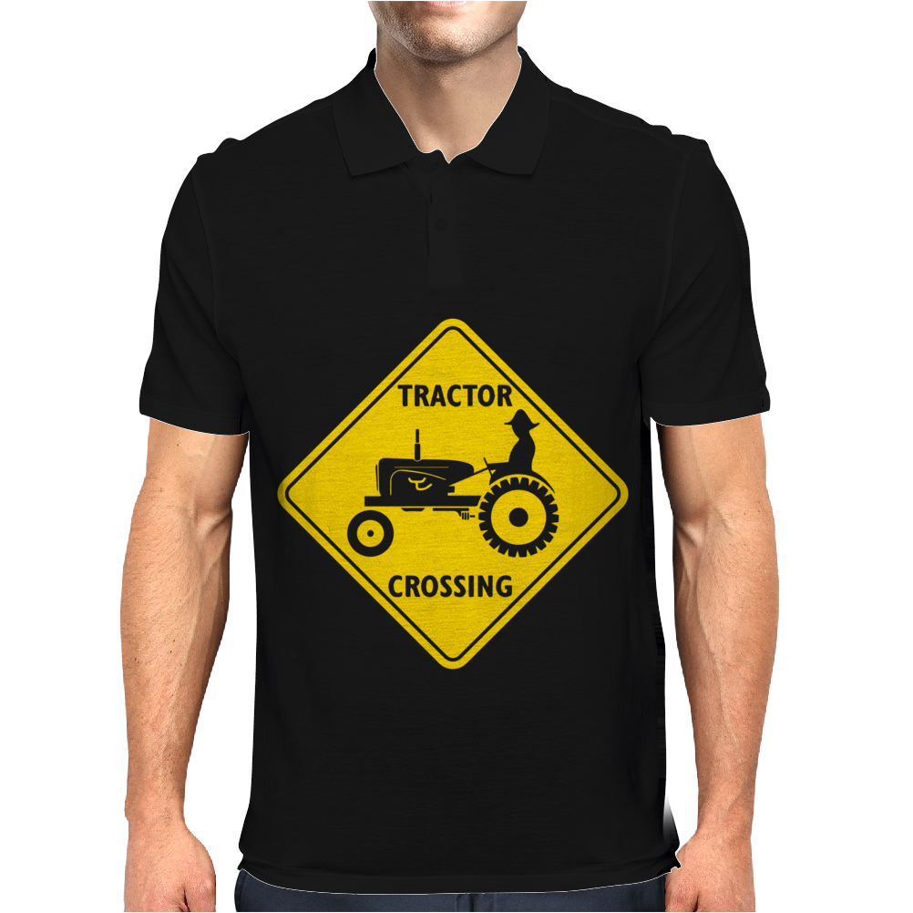 Tractor Crossing Farmer's Road Warning Sign Mens Polo