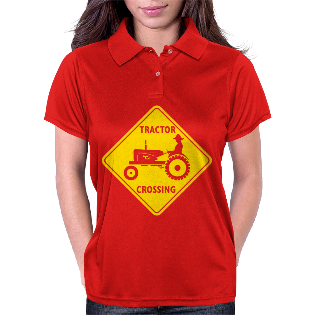 Tractor Crossing Farmer's Road Warning Sign Womens Polo