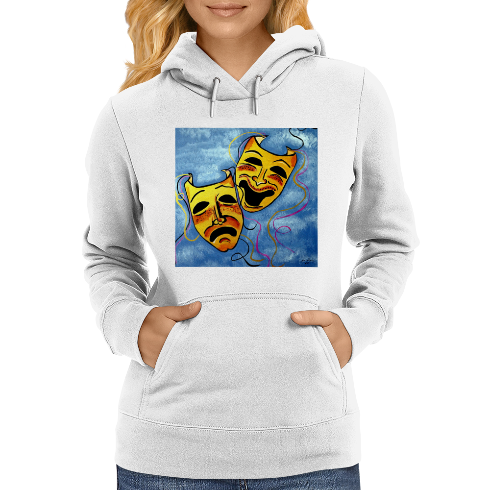 TRAGEDY AND COMEDY MASKS Womens Hoodie