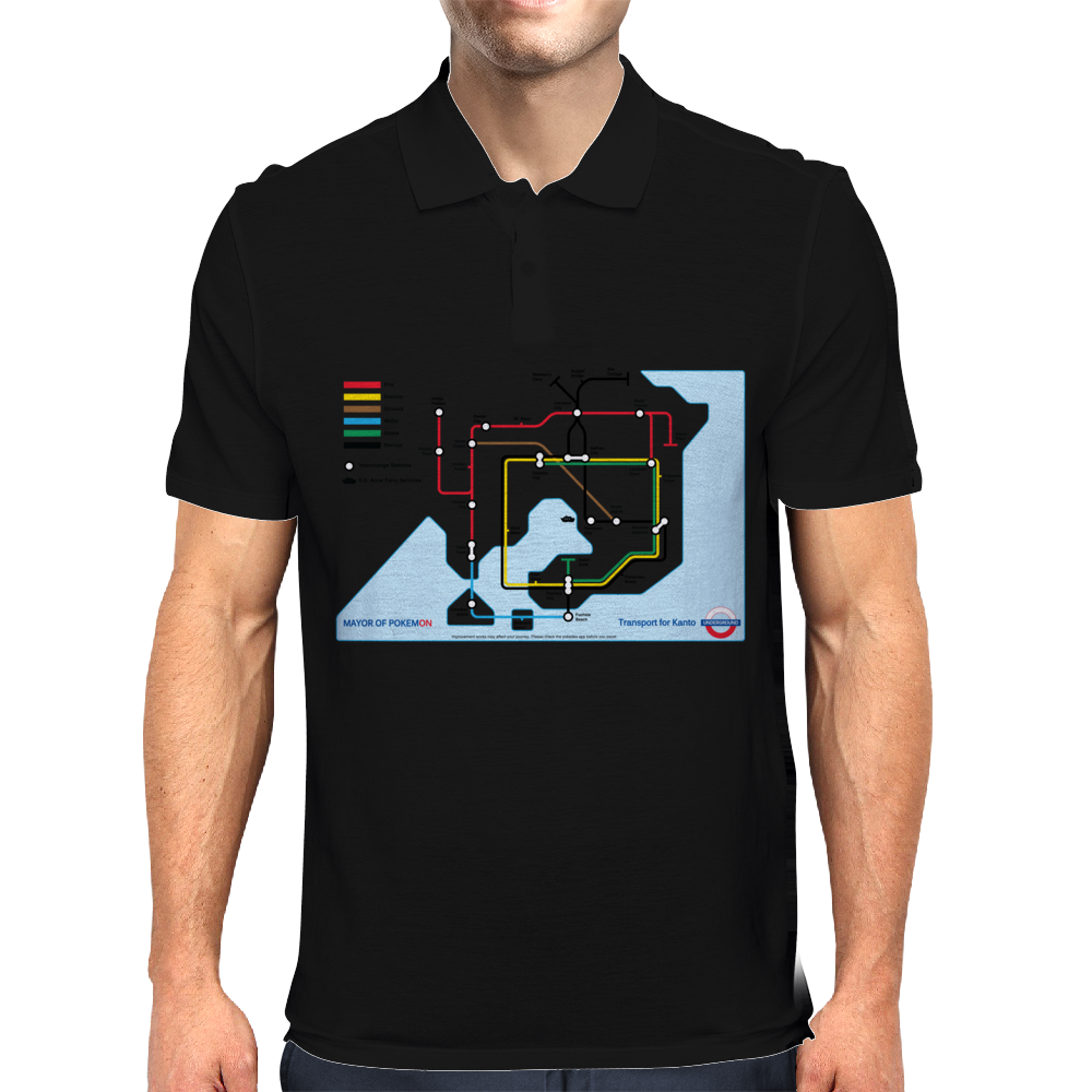 Transport of Kanto - Pokémon Underground Map Mens Polo