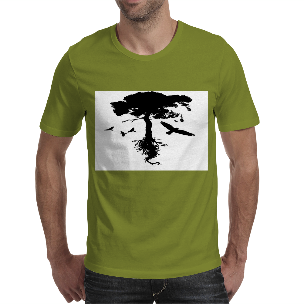 Tree and Birds Mens T-Shirt