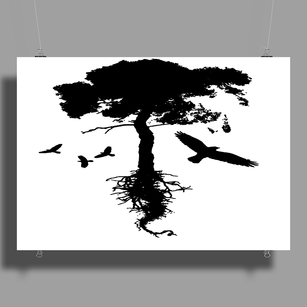 Tree and Birds Poster Print (Landscape)