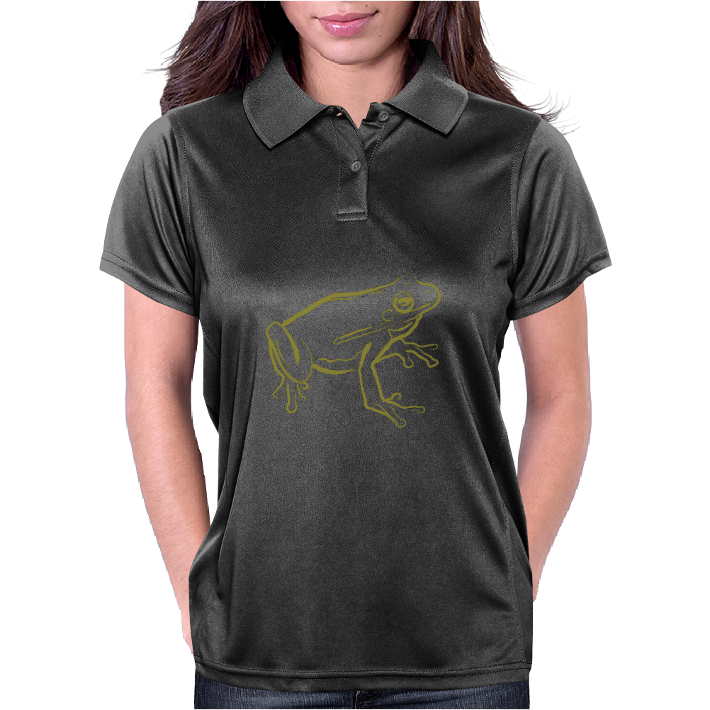 Tree Frog art green Womens Polo