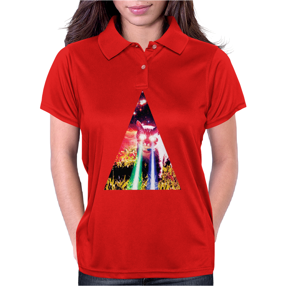 Triangle Cat Design Graph Galaxy Womens Polo