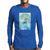Tropical woman - abstract illustration with beautiful girl, palm trees, hibiscus flowers and bubbles Mens Long Sleeve T-Shirt