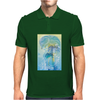Tropical woman - abstract illustration with beautiful girl, palm trees, hibiscus flowers and bubbles Mens Polo