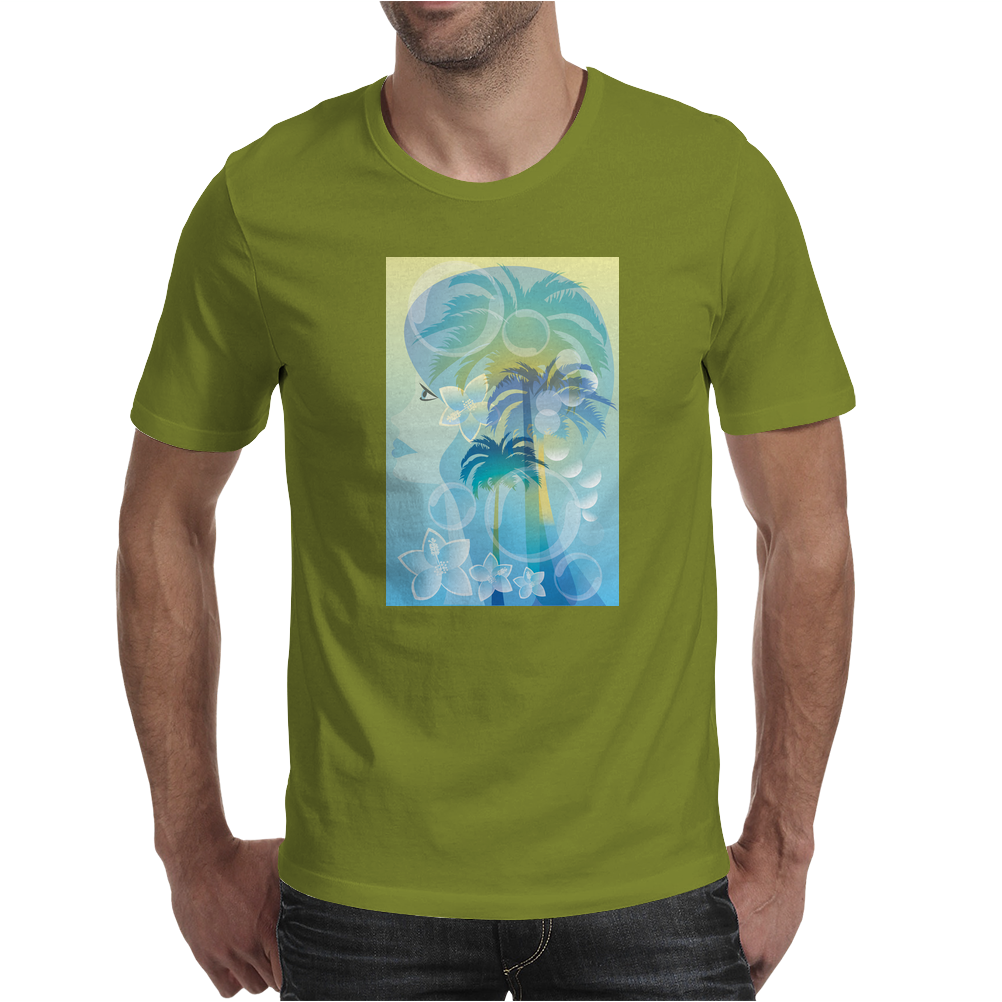 Tropical woman - abstract illustration with beautiful girl, palm trees, hibiscus flowers and bubbles Mens T-Shirt