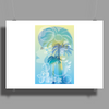 Tropical woman - abstract illustration with beautiful girl, palm trees, hibiscus flowers and bubbles Poster Print (Landscape)