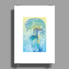 Tropical woman - abstract illustration with beautiful girl, palm trees, hibiscus flowers and bubbles Poster Print (Portrait)