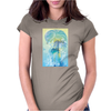 Tropical woman - abstract illustration with beautiful girl, palm trees, hibiscus flowers and bubbles Womens Fitted T-Shirt