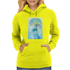 Tropical woman - abstract illustration with beautiful girl, palm trees, hibiscus flowers and bubbles Womens Hoodie