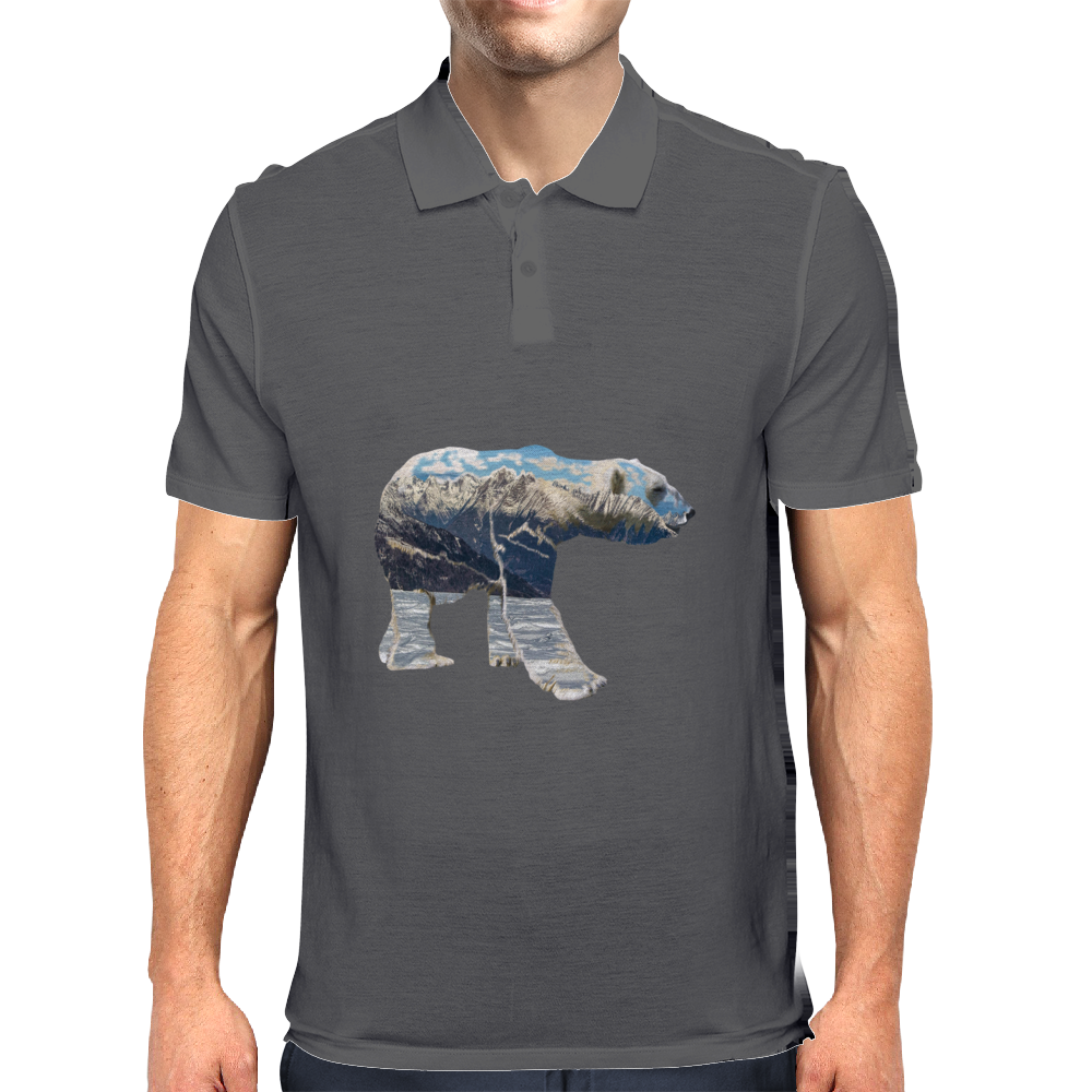 Tundra Arctic Polar Bear Mens Polo