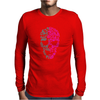 Two Coloured Patterned Skull - Mens Funny Mens Long Sleeve T-Shirt