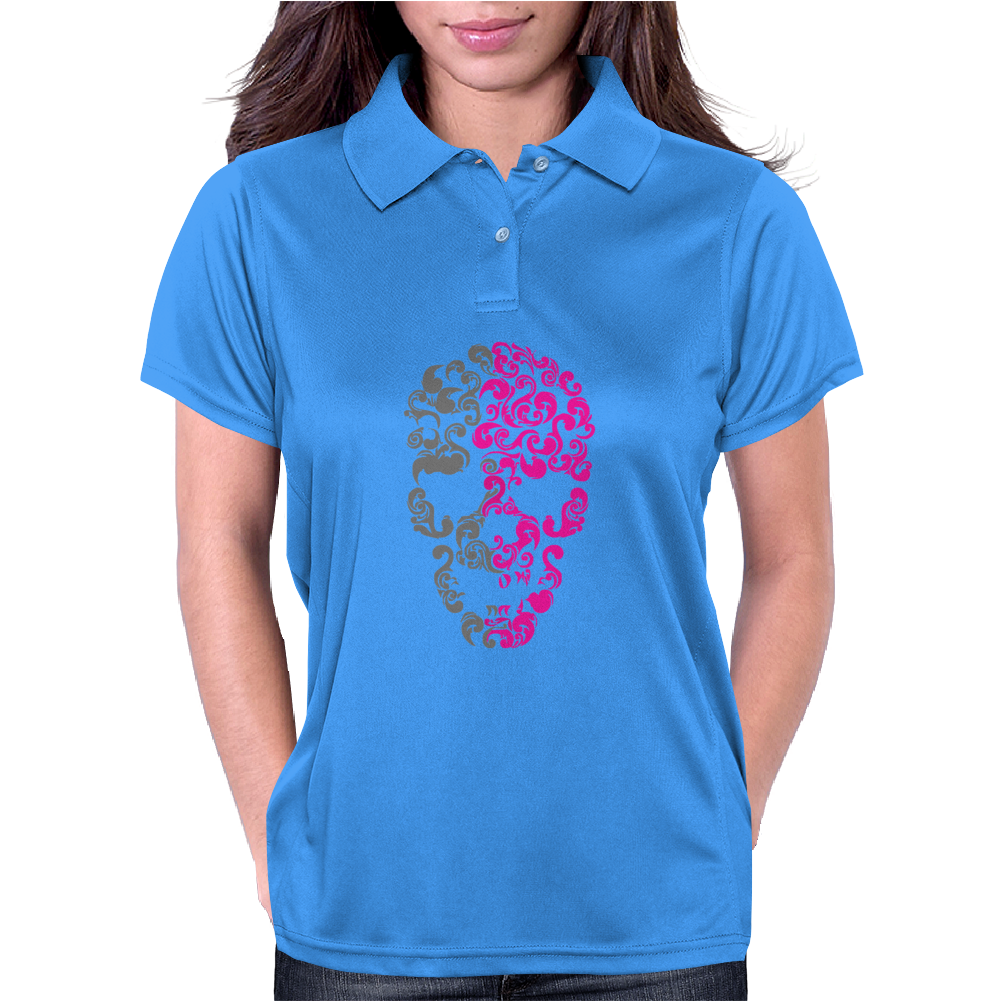 Two Coloured Patterned Skull - Mens Funny Womens Polo