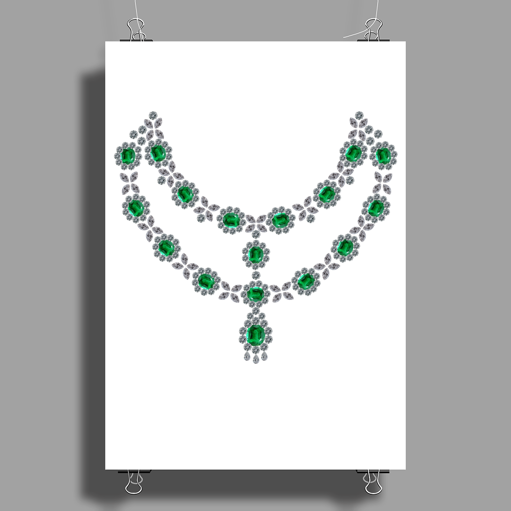 Two Row Emerald Necklace Poster Print (Portrait)