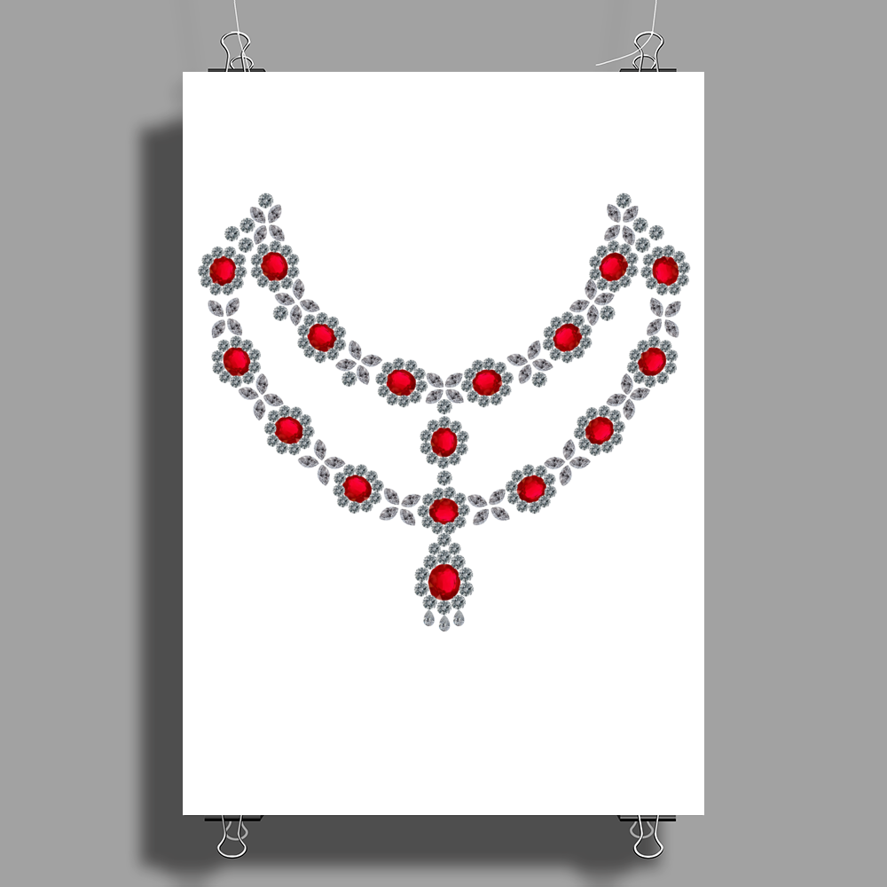 Two Row Ruby Necklace Poster Print (Portrait)