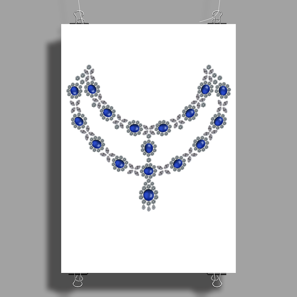 Two Row Sapphire Necklace Poster Print (Portrait)