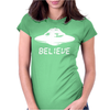 Ufo Believe Womens Fitted T-Shirt