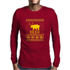 Ugly Sweater Party Beer Bear Funny Mens Long Sleeve T-Shirt