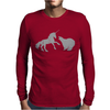 Unicorn and Grizzly Bear Fight Mens Long Sleeve T-Shirt